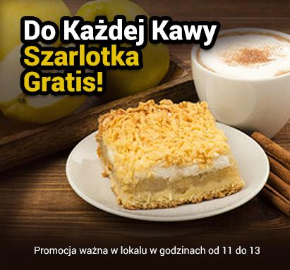 Do każdej kawy szarlotka gratis - promocja safir